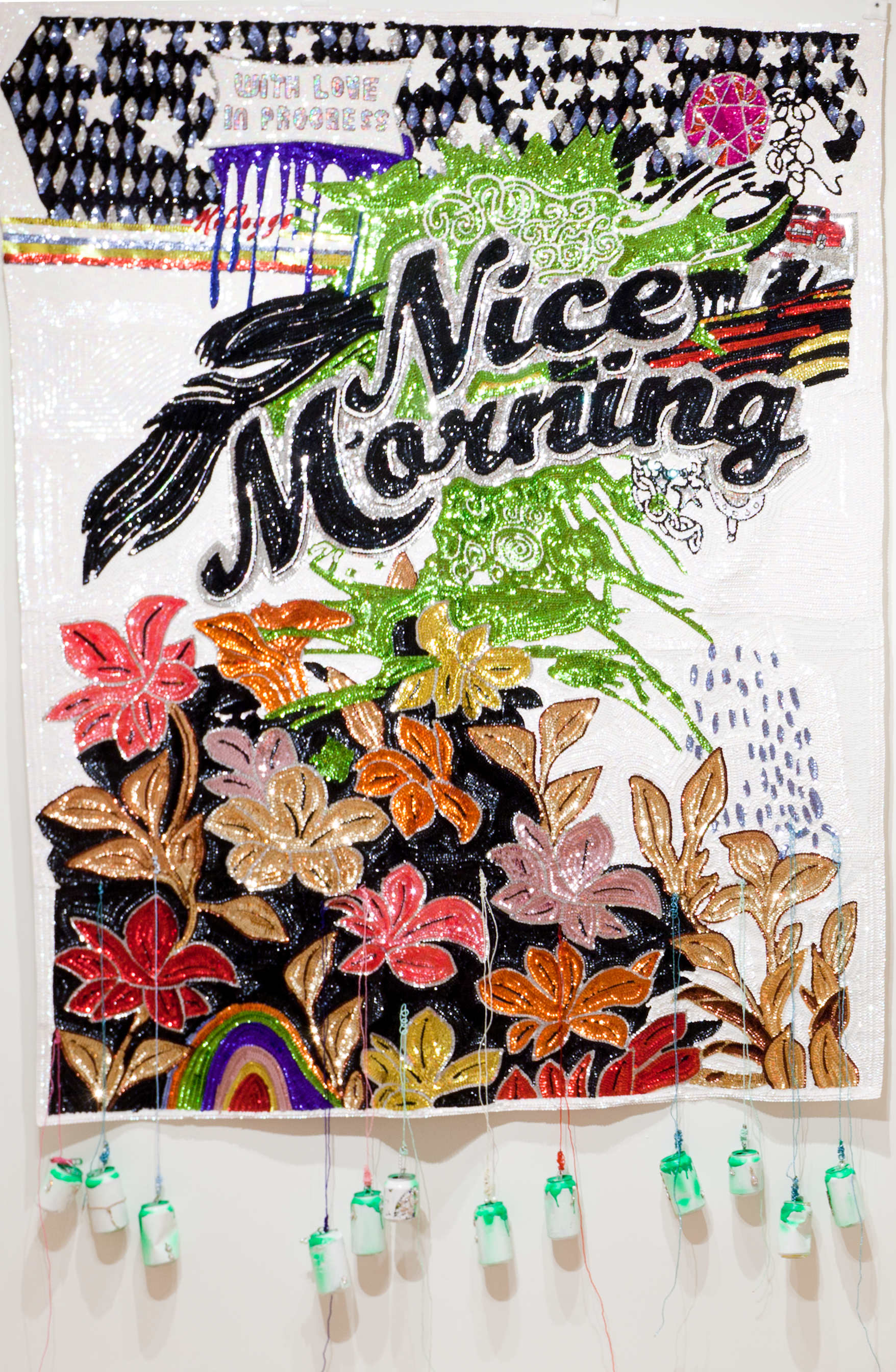 Daniel González,Nice Morning, 2011, hand-sewn sequins, pearls and cans, 230 x 160 cm