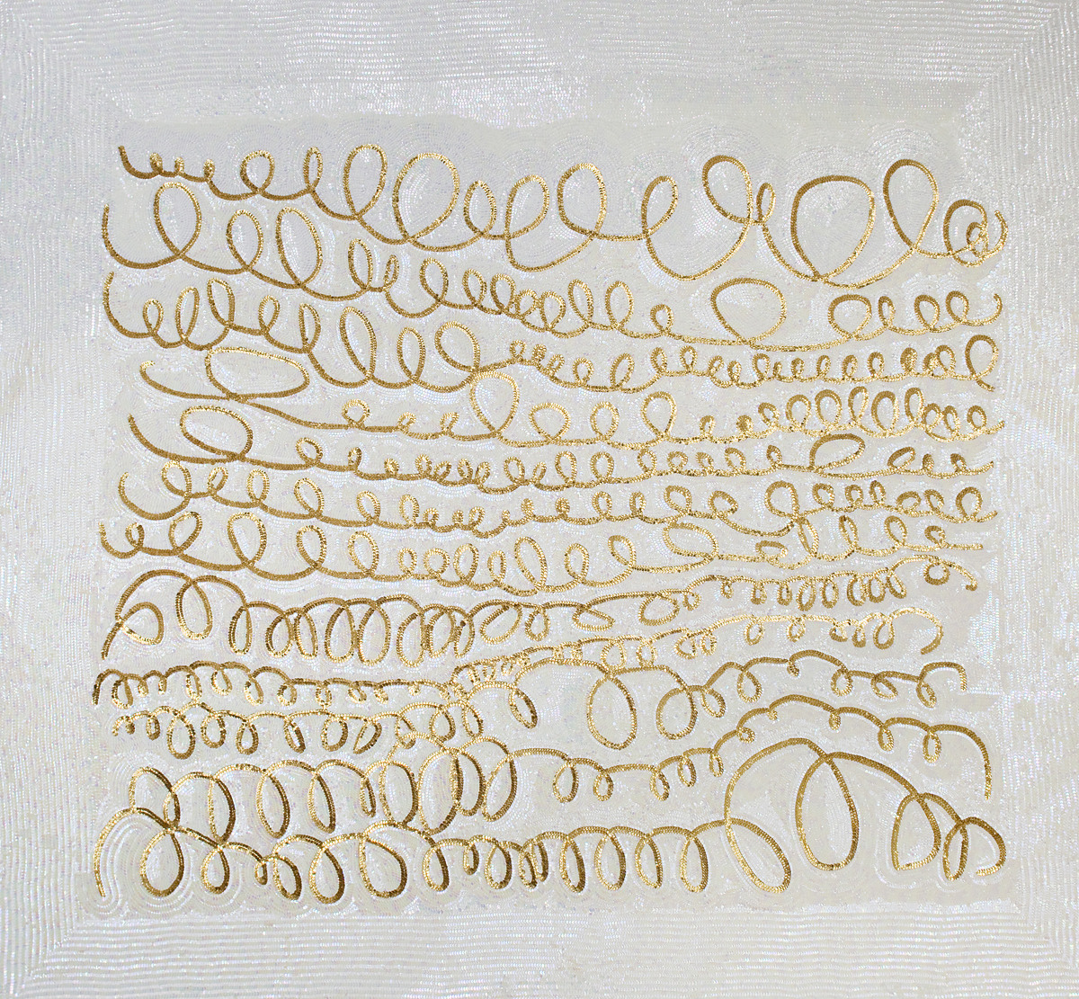 Daniel Gonzalez, Pimp Art History -The First Love Letter After Twombly, 2010, hand-sewn sequins on canvas, 190 x 190 cm