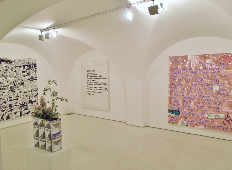 Super Reality, Sequined Banner installation view, Galleria Valentina Bonomo, Rome, 2015