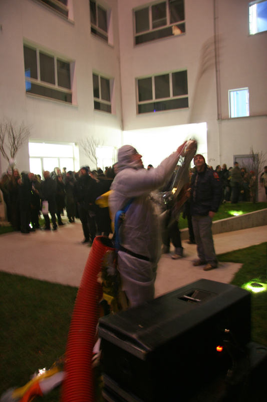 Daniel González, Anna Galtarossa, Homeless Rocket with Chandeliers, frame from opening performance, Lambrate, Milan, 2007-09
