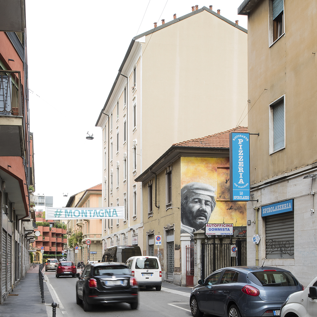 #montagna - #mountain, pasacalles-street banners, Daniel González, Imaginary Country, public art installation, 2017, Milan, ph Carola Merello