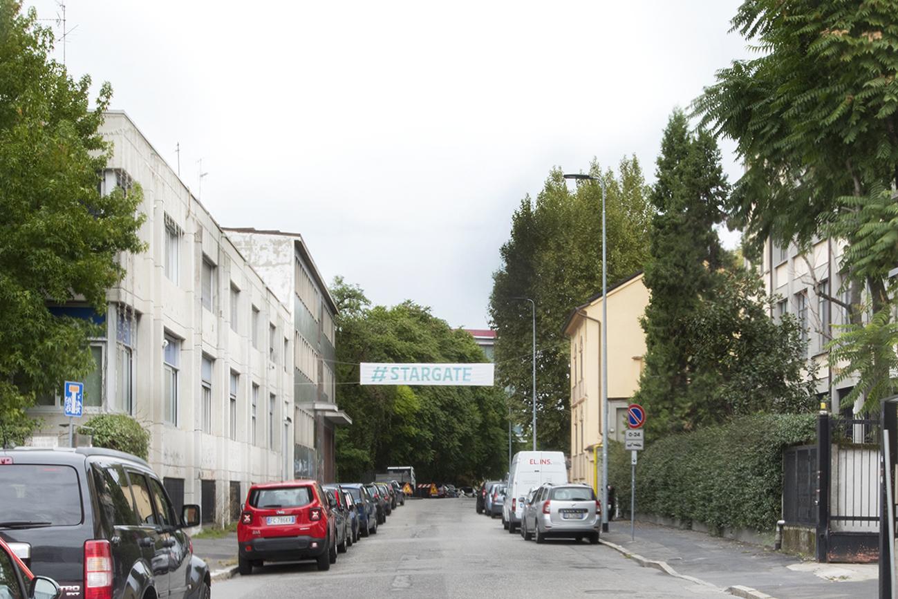 #stargate, pasacalles-street banners, Daniel González, Imaginary Country, public art installation, 2017, Milan, ph Carola Merello