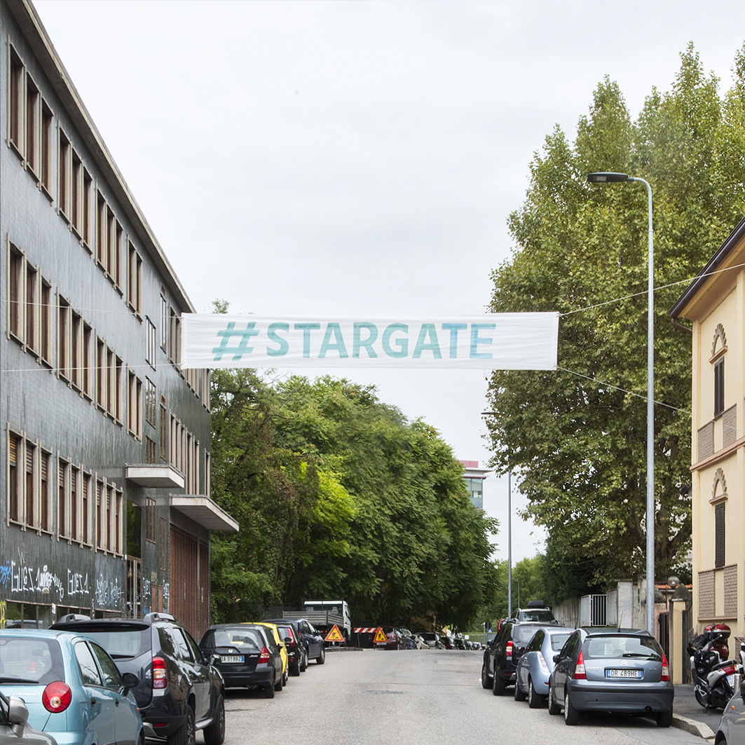 #stargate, pasacalles-street banners, Daniel González, Imaginary Country, public art installation, 2017, Milan