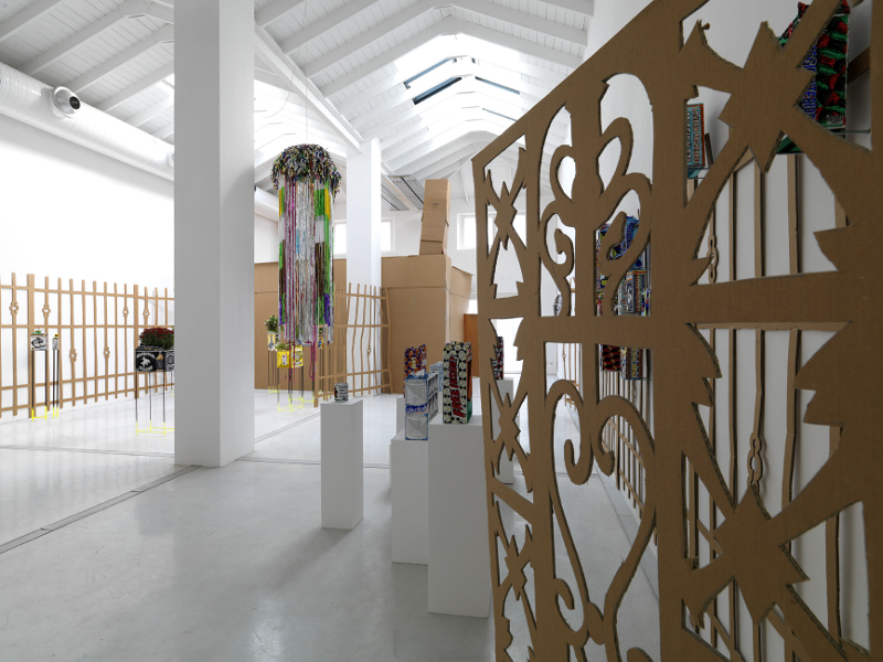 Cloud Factory, sequined banner installation view, Studio La Città, Verona, 2012