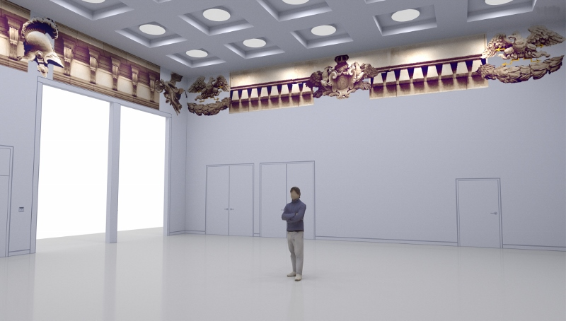 Daniel González, rendering foyer Humboldt Forum, Berlin, 2018
